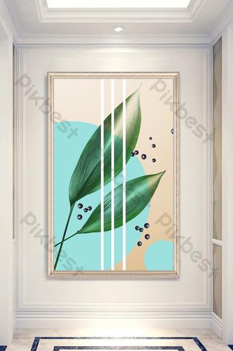 الشمال نمط ورقة نبات عنبية لون جديد اللوحة الزخرفية الشرفة الديكور والنموذج قالب PSD