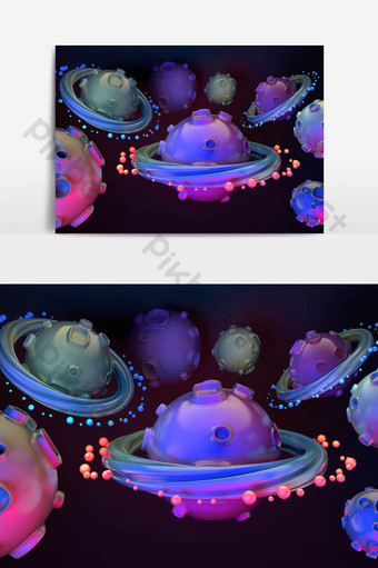 c4d原創卡通模擬小星球透明背景元素 元素 模板 PSD