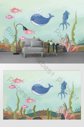 Fondo de habitación de niños de mundo submarino de dibujos animados lindo papel de pared Decoración y modelo Modelo AI