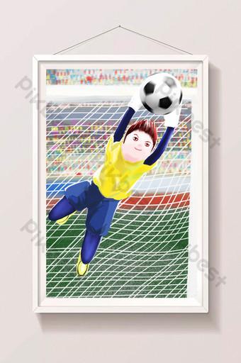 Illustration de gardien de but de football jeune dessin animé frais Illustration Modèle PSD