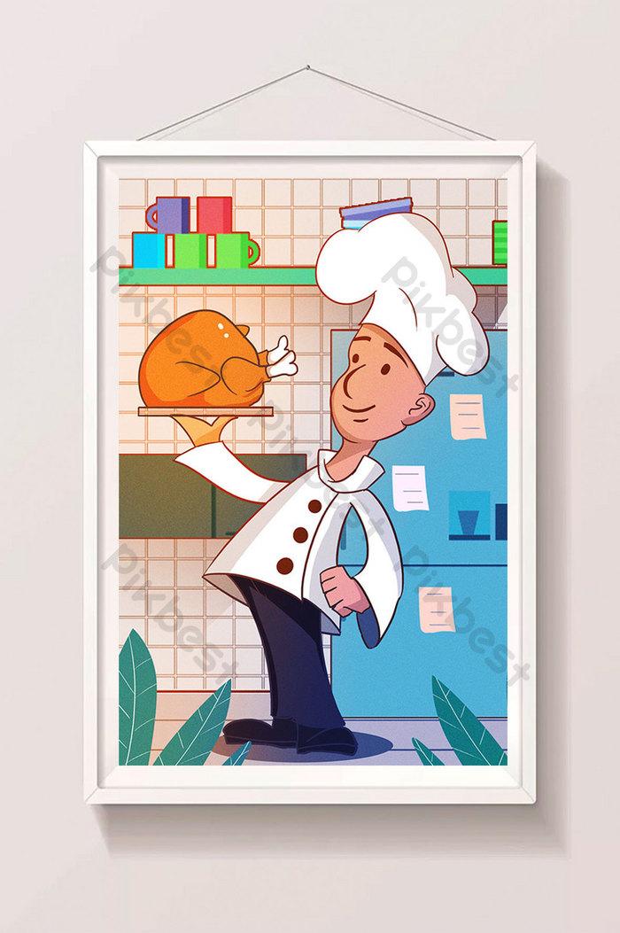 كرتون كبير الشيف دجاج مشوي تركيا ملصق تصميم هزلي التوضيح الرسم التوضيحي Psd تحميل مجاني Pikbest