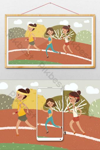 deportes rojos corriendo niña pista planta ejercicio dibujado a mano ilustración de dibujos animados Ilustración Modelo PSD