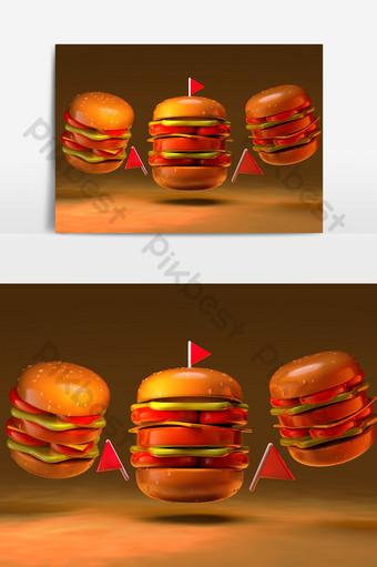 c4d原始的巨型漢堡透明,無背景元素 元素 模板 PSD