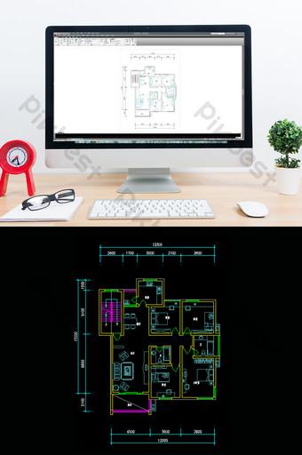 Amélioration de l'habitat CAD quatre chambres et deux salles Décoration et modèle Modèle DWG