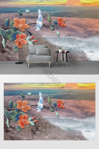 new chinese style landscape sunrise flower and bird background wall blue sea stone flow Decors & 3D Models Template TIF