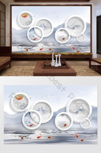 Cina baru 3d stereo lingkaran konsepsi artistik dinding latar belakang tv Dekorasi dan model Templat PSD