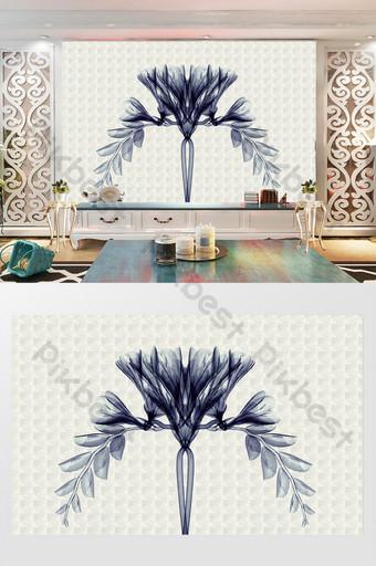 pared de fondo de tv de flor simple y hermosa moderna Decoración y modelo Modelo PSD