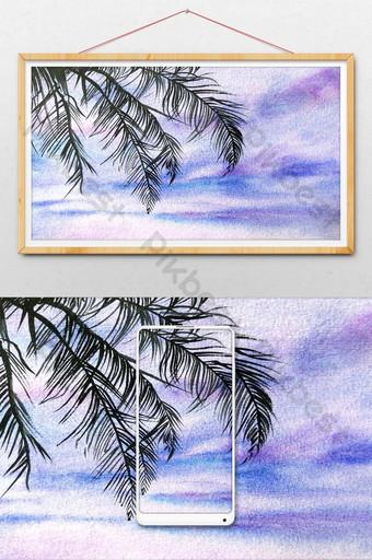 summer seaside fresh coconut leaves background Illustration Template PSD