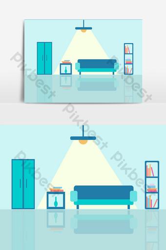 vector de elementos de diseño de sala de estar de dibujos animados Elementos graficos Modelo AI