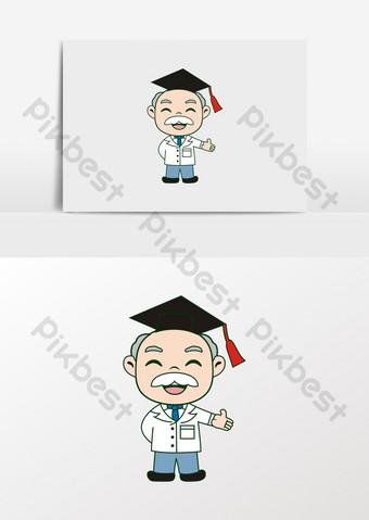 卡通醫生老教授科學家形象 元素 模板 CDR