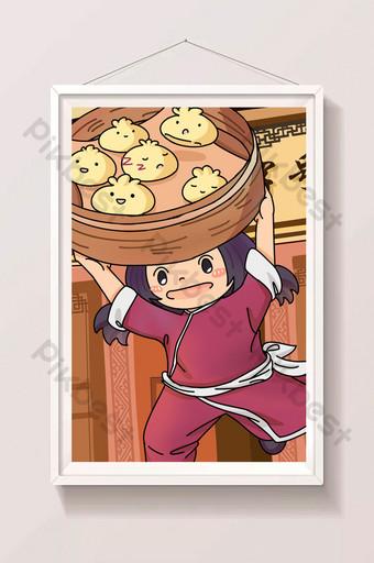 estilo chino comida festiva bollos tradicionales linda chica tienda ilustración Ilustración Modelo PSD
