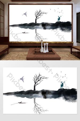 الصينية الجديدة زن المشهد الأيائل الميت فرع الحبر بحيرة مشهد خلفية الجدار الديكور والنموذج قالب PSD