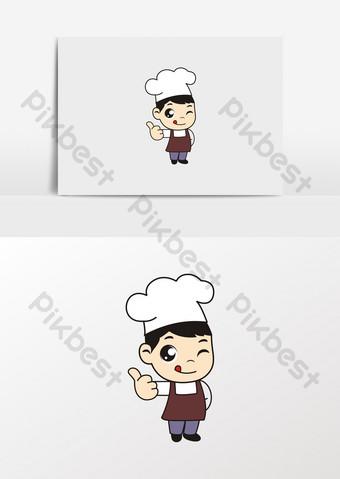 卡通小廚師小吃麵包師形象 元素 模板 CDR
