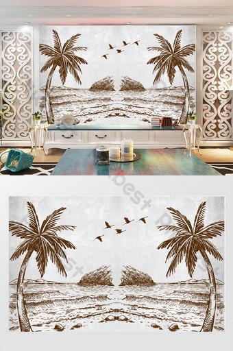 الحد الأدنى الحديثة شجرة جوز الهند الشاطئ صورة ظلية التلفزيون خلفية الجدار الديكور والنموذج قالب PSD