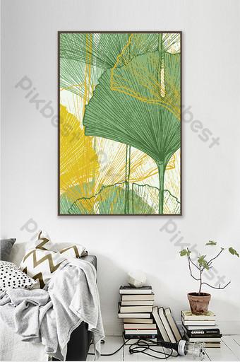 رسمت باليد الإبداعية الفن بسيطة صفراء وخضراء الجنكة ورقة زخرفة غرفة المعيشة اللوحة الديكور والنموذج قالب PSD