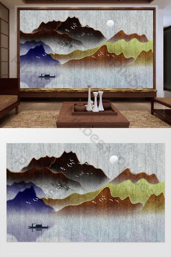 新中國風紋理和意境山水畫電視背景牆 裝飾·模型 模板 PSD