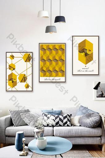 simple dorado abstracto forma geométrica nórdico moderno minimalista sala de estar decoración pintura Decoración y modelo Modelo CDR