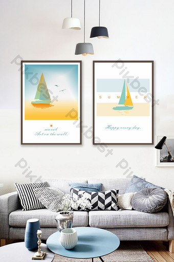 Nordic minimalist sea fashion sailing living room decorative painting frameless Decors & 3D Models Template CDR