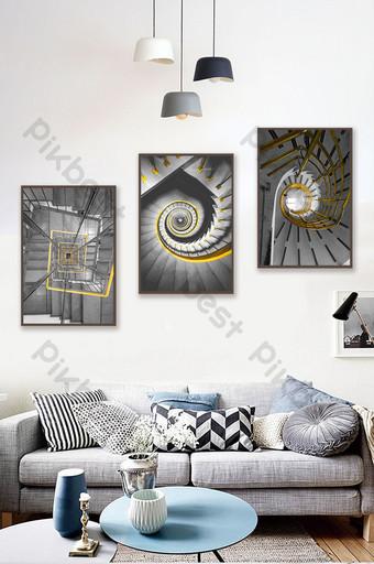 北歐ins黃色黑色和白色建築抽象組合裝飾畫 裝飾·模型 模板 PSD