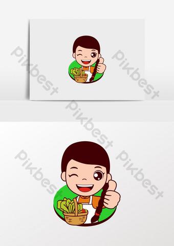 كارتون فتاة صغيرة تبيع الخضار في صورة بائع فواكه وخضروات صور PNG قالب CDR
