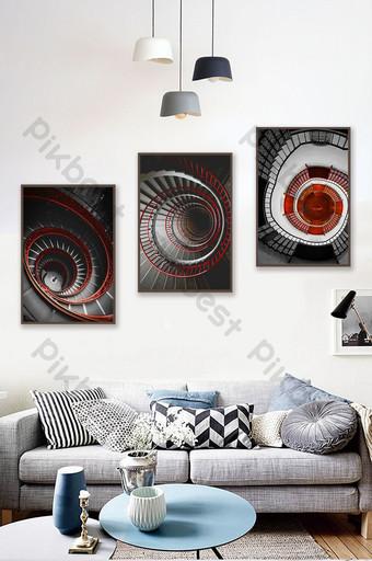 nórdico moderno abstracto blanco y negro estilo rojo decoración arquitectónica pintura Decoración y modelo Modelo PSD