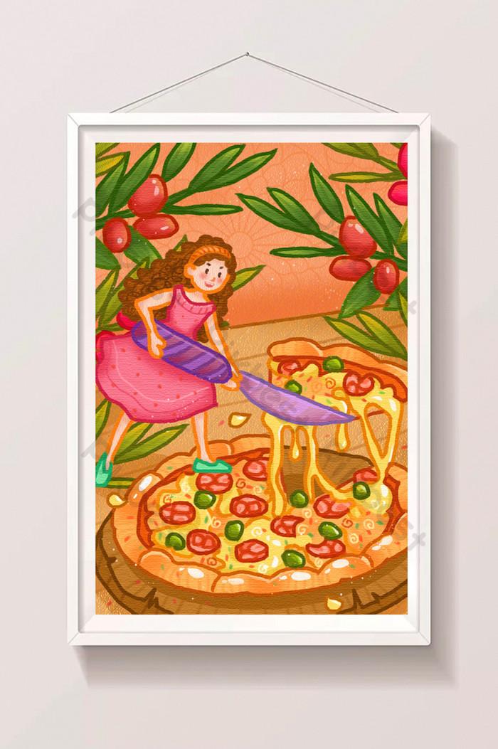 Lucu Kartun Makanan Segar Yang Lazat Keju Pizza Ilustrasi Psd