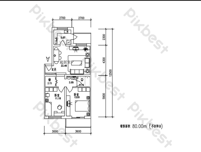 80 square meters two-room apartment CAD drawing | Decors & 3D Models