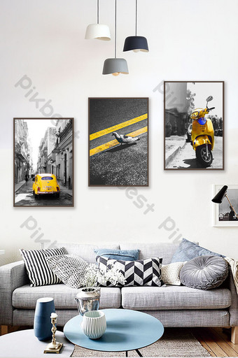 Modern city series black and white art car traffic triptych decorative painting Decors & 3D Models Template PSD