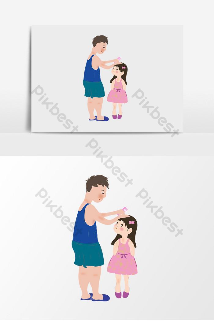 Ayah Kartun Menyisir Rambut Anak Perempuan Ilustrasi Psd Percuma Muat Turun Pikbest