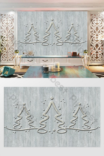 رمادي 3d صورة ظلية شجرة عيد الميلاد منحوتة الحديثة التلفزيون خلفية الجدار الديكور والنموذج قالب PSD