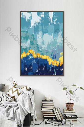 رسمت باليد كتلة اللون المياه غرفة المعيشة اليابانية اللوحة الزخرفية الإبداعية الديكور والنموذج قالب PSD