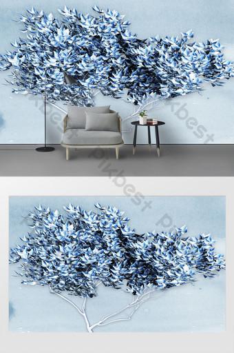 moderno minimalista pequeño fresco creativo un gran árbol piedra 3d tv fondo Decoración y modelo Modelo PSD