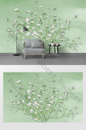 الشمال 3d التلفزيون خلفية الجدار من فرع زهرة شجرة المزهرة الديكور والنموذج قالب PSD