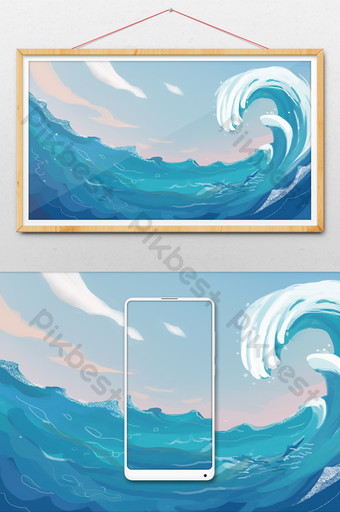 watercolor drawing blue waves the sea Illustration Template PSD