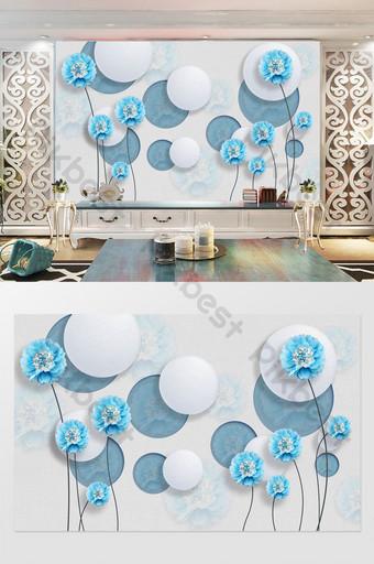 pared de fondo de flor de joyería tridimensional 3d azul fresco pequeño Decoración y modelo Modelo PSD
