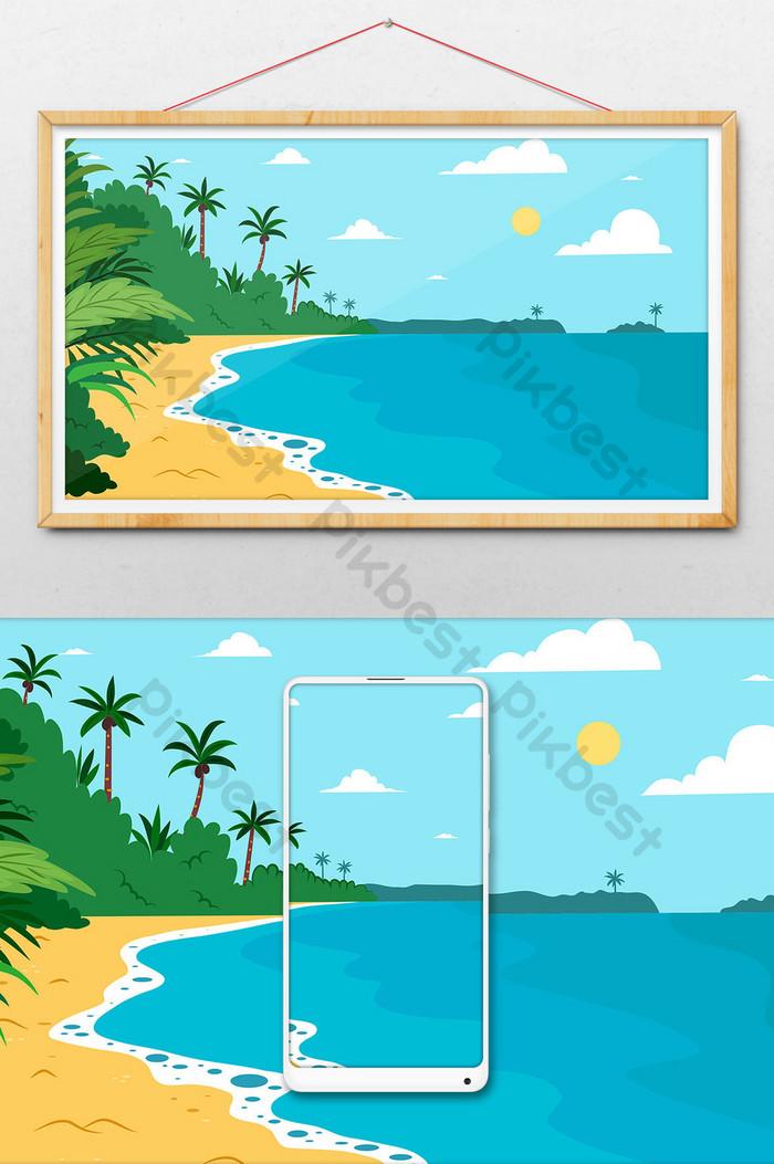 54+ Gambar Pemandangan Pantai Kartun HD
