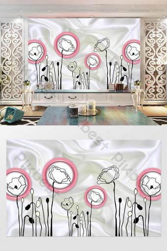 3d dinding latar belakang TV bunga lingkaran tiga dimensi Dekorasi dan model Templat PSD