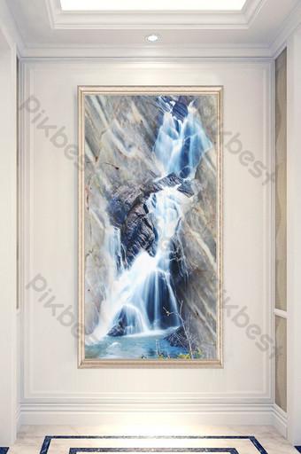 大理石紋理瀑布流水入口走廊裝飾畫 裝飾·模型 模板 PSD