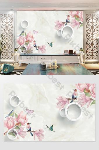 dinding latar belakang tv bunga lingkaran 3d modern minimalis Dekorasi dan model Templat PSD