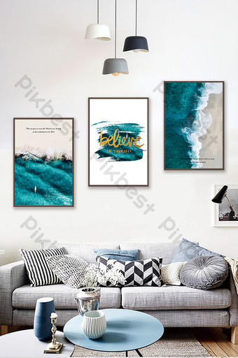 Nordic style beautiful scenery sea beach decorative painting Decors & 3D Models Template PSD