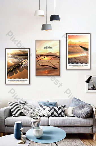 北歐風格風格風景現代無框畫客廳裝飾 裝飾·模型 模板 PSD