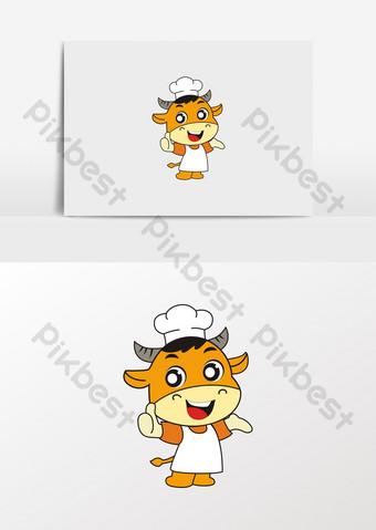 gambar makan restoran mie daging sapi kartun Elemen Grafis Templat CDR