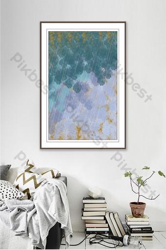 رسمت باليد المياه مجردة كتلة اللون غرفة المعيشة اليابانية شخصية اللوحة الزخرفية الديكور والنموذج قالب PSD
