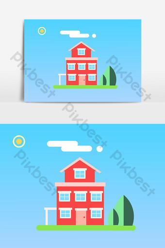 房子卡通無背景設計元素 元素 模板 PSD