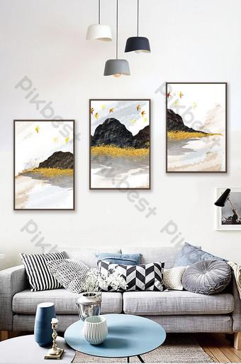 Nouveau style chinois 3d conception artistique paysage ligne d'or peinture de décoration d'oiseau Décoration et modèle Modèle TIF