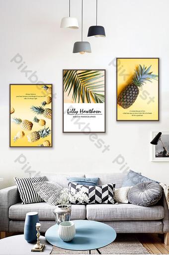 Tableau décoratif triptyque nordique simple fruit ananas jaune nature morte Décoration et modèle Modèle PSD