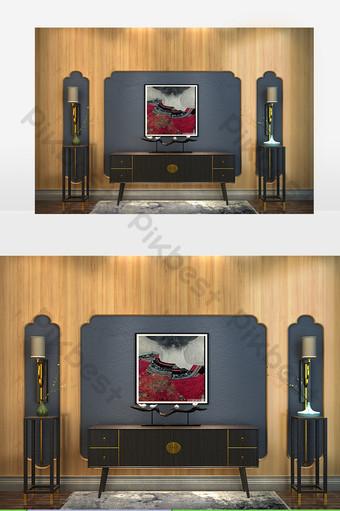 pared de fondo de tv de metal gris Decoración y modelo Modelo MAX