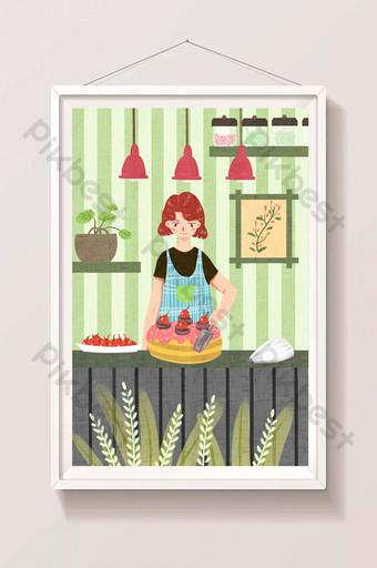 新鮮可愛的婦女製作蛋糕美食插圖 插畫 模板 PSD