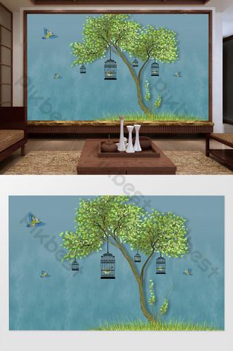 النمط الصيني زهرة جميلة والطيور شجرة كبيرة التلفزيون خلفية الجدار الديكور والنموذج قالب TIF