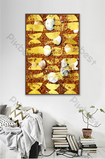 Modern abstract seashell color decorative painting Decors & 3D Models Template PSD